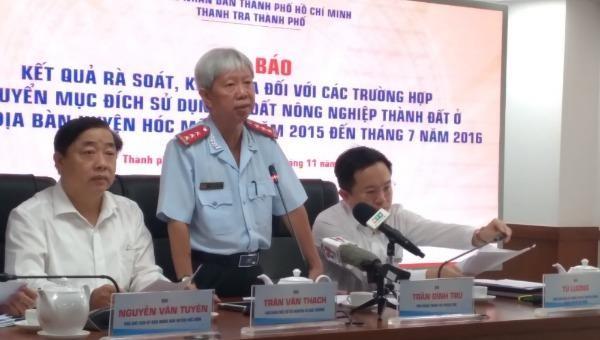 Ông Trần Đình Trữ - Phó chánh Thanh tra TP HCM thông tin kết luận, chỉ đạo của Chủ tịch UBND TP HCM về vụ việc.