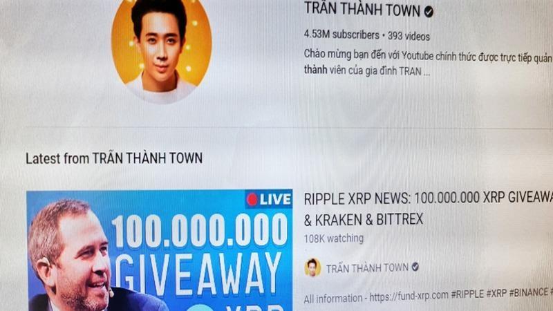 Trang YouTube của Trấn Thành khi đang bị hack, thực hiện livestream tặng tiền ảo.