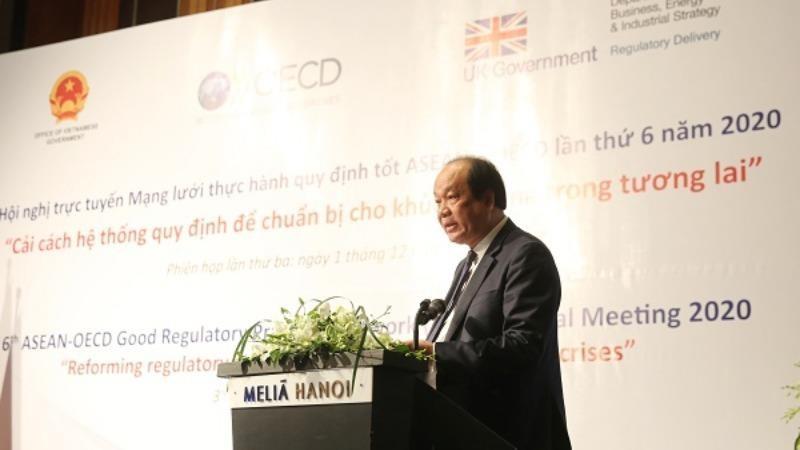Bộ trưởng, Chủ nhiệm Văn phòng Chính phủ (VPCP) Mai Tiến Dũng phát biểu tại Phiên họp. Ảnh: VGP/Hoàng Giang.