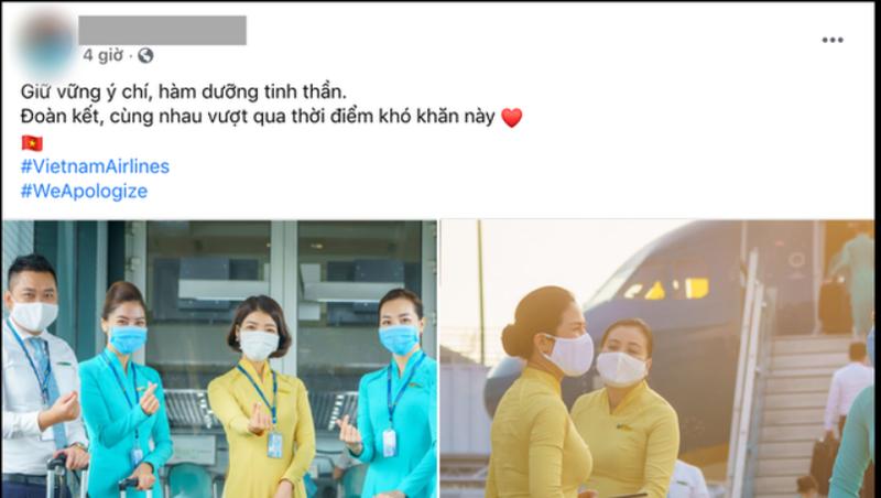 Nhân viên của Vietnam Airlines treo hashtag xin lỗi.