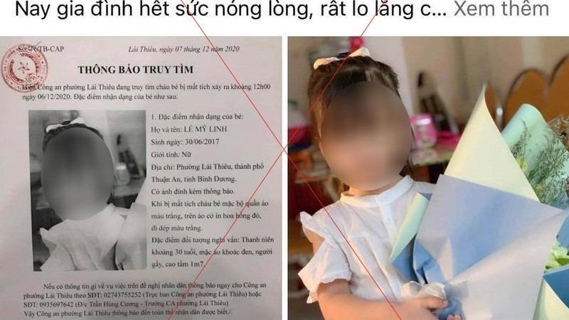 Thông tin bé gái bị bắt cóc được mạng xã hội lan truyền.