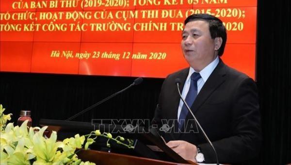 Ông Nguyễn Xuân Thắng, Chủ tịch Hội đồng Lý luận Trung ương phát biểu tại Hội nghị.