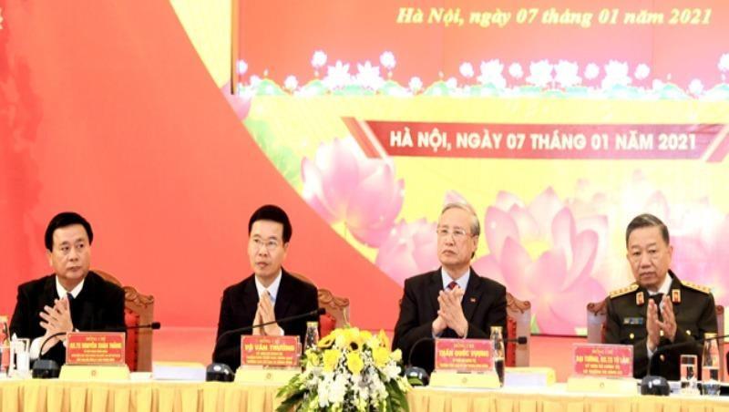 Các đồng chí: Trần Quốc Vượng, Đại tướng Tô Lâm, Võ Văn Thưởng và Nguyễn Xuân Thắng đồng chủ trì Hội thảo.