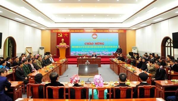 Quang cảnh buổi tiếp Đoàn đại biểu người có uy tín tiêu biểu trong đồng bào dân tộc thiểu số tỉnh Lào Cai.