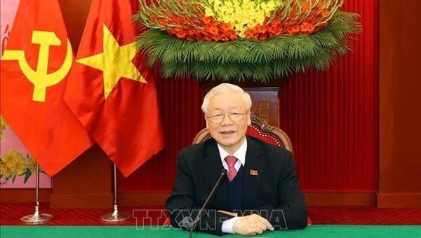 Tổng Bí thư, Chủ tịch nước Nguyễn Phú Trọng điện đàm với Tổng Bí thư, Thủ tướng Lào Thongloun Sisoulith.