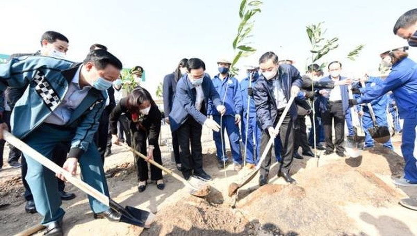 Các đại biểu phát động Tết trồng cây.