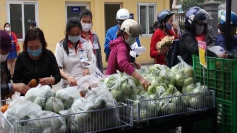 Một điểm bán nông sản Hải Dương.