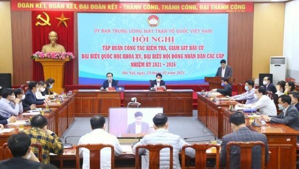 Toàn cảnh Hội nghị tập huấn công tác kiểm tra, giám sát bầu cử do UB Trung ương MTTQ Việt Nam tổ chức.