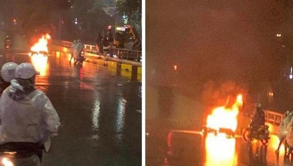 Tìm được ô tô tông xe máy bốc cháy ở Hà Nội rồi bỏ chạy
