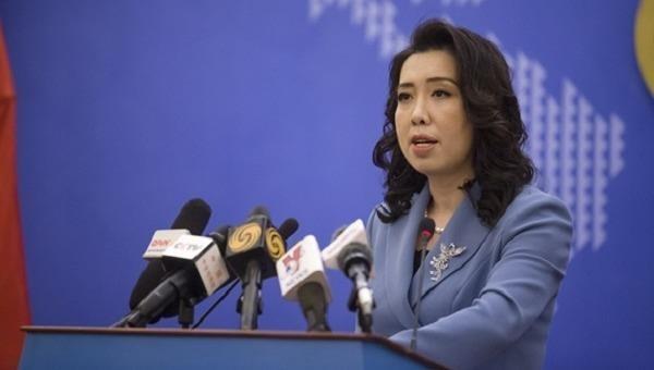 Người phát ngôn Bộ Ngoại giao Lê Thị Thu Hằng tại buổi họp báo chiều 11/3.
