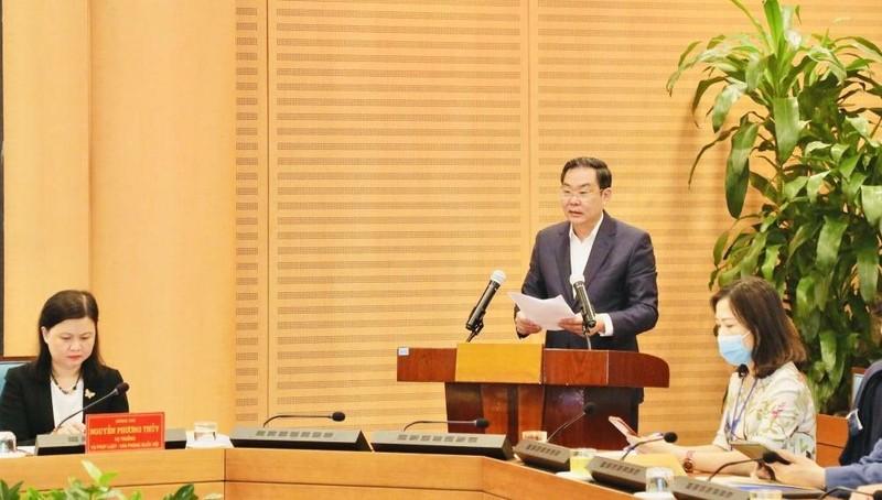 Phó Chủ tịch Thường trực UBND TP Lê Hồng Sơn - Chủ tịch Hội đồng Phối hợp Phổ biến, giáo dục pháp luật TP Hà Nội chủ trì hội nghị.