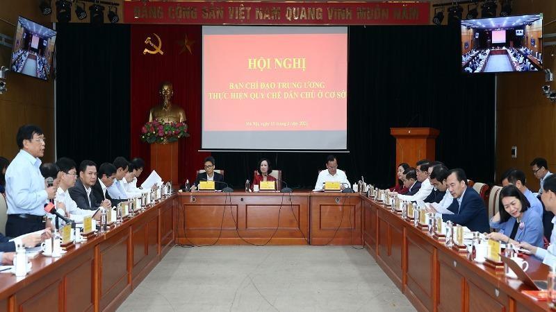 Ủy viên Bộ Chính trị, Trưởng Ban Dân vận Trung ương Trương Thị Mai Hội nghị Ban Chỉ đạo Trung ương thực hiện quy chế dân chủ ở cơ sở, chiều 15/3.