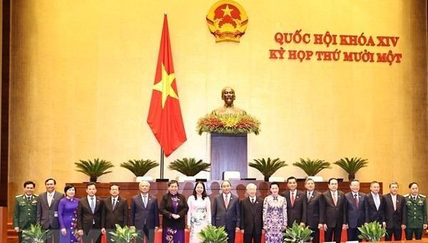 Các lãnh đạo Đảng, Nhà nước, Quốc hội với các Đại biểu Quốc hội trong phiên khai mạc Kỳ họp thứ 11, Quốc hội khóa XIV.