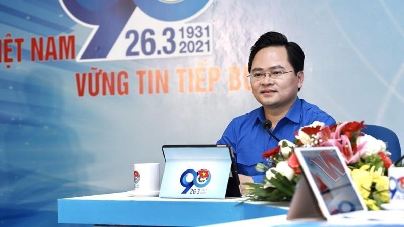 Ông Nguyễn Anh Tuấn, Ủy viên Trung ương Đảng, Bí thư thứ nhất Trung ương Đoàn, Chủ tịch Hội Liên hiệp Thanh niên Việt Nam tại buổi đối thoại.