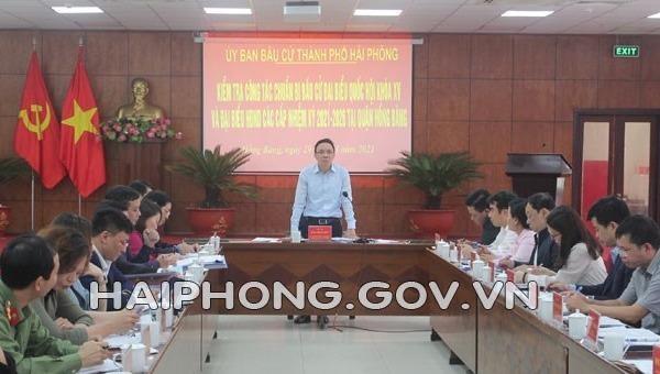 Trưởng ban Tổ chức Thành ủy Hải Phòng Đào Trọng Đức, Trưởng Ban Tổ chức Thành ủy phát biểu tại cuộc làm việc với quận Hồng Bàng. Ảnh Cổng thông tin điện tử TP Hải Phòng.