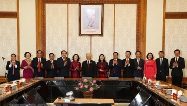 Tổng Bí thư Nguyễn Phú Trọng, Thủ tướng Phạm Minh Chính, Thường trực Ban Bí thư Võ Văn Thưởng và các đại biểu dự buổi lễ.