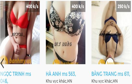 Gái mại dâm online đăng thông tin trên internet. (Ảnh chụp màn hình: Q.M)