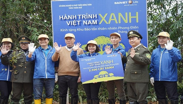 """Chiến dịch """"Hành trình Việt Nam Xanh""""  tại TT-  Huế đã trồng 25.000 cây tự nhiên."""