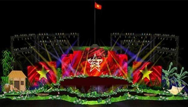 Phối cảnh sân khấu tại điểm cầu Đồng Tháp. Ảnh: dongthap.gov.vn