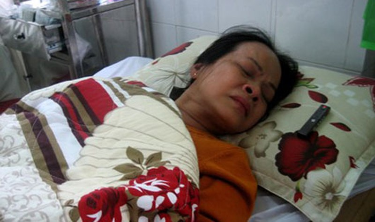 Bà Lan đang nằm điều trị tại Bệnh viện Đa khoa khu vực Quảng Nam.