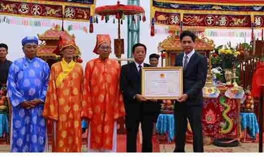 Trao bằng chứng nhận Di sản Văn hóa phi vật thể quốc gia