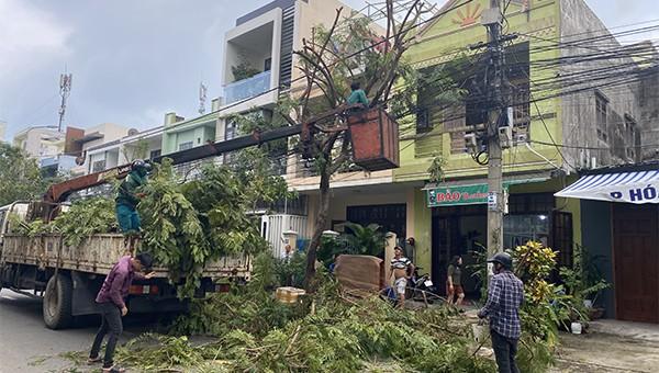 Đà Nẵng cắt tỉa cây xanh chuẩn bị ứng phó bão số 10