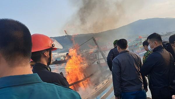 Hỏa hoạn thiêu rụi ba tàu cá neo đậu tại âu thuyền Thọ Quang (Đà Nẵng)
