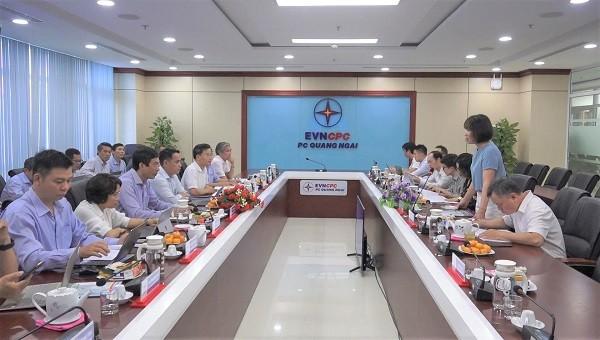 EVN làm việc tại PC Quảng Ngãi về tình hình tiếp nhận tài sản lưới điện và cấp điện mới