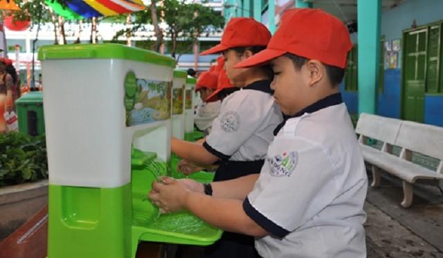 Học sinh Trường tiểu học Kỳ Đồng hưởng ứng rửa tay phòng bệnh
