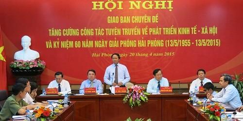 Chủ tịch UBND TP.Hải Phòng Lê Văn Thành phát biểu tại Hội nghị.