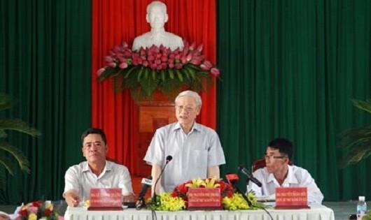 Tổng Bí thư Nguyễn Phú Trọng phát biểu chỉ đạo tại buổi làm việc với xã Diên Điền (huyện Diên Khánh)