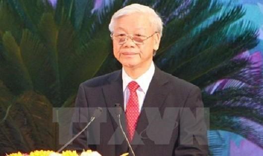 Tổng Bí thư Nguyễn Phú Trọng giữ chức Bí thư Quân ủy Trung ương. (Ảnh: Thống Nhất/TTXVN)