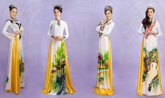 """Bộ thiết kế áo dài """"Một thoáng Việt Nam"""" gây ấn tượng mạnh khi thể hiện được các danh lam thắng cảnh nổi tiếng nhất của Việt Nam."""