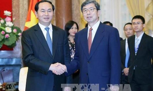 Chủ tịch nước Trần Đại Quang tiếp ngài Takehiko Nakao, Chủ tịch Ngân hàng phát triển châu Á (ADB). (Ảnh: TTXVN)