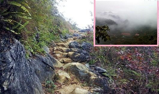 Đường liên xã trên các bản làng vùng cao của xã Quý  Quân (ảnh to) - Điểm trường tiểu học Lũng Mới nhìn từ trên cao xuống (ảnh nhỏ).