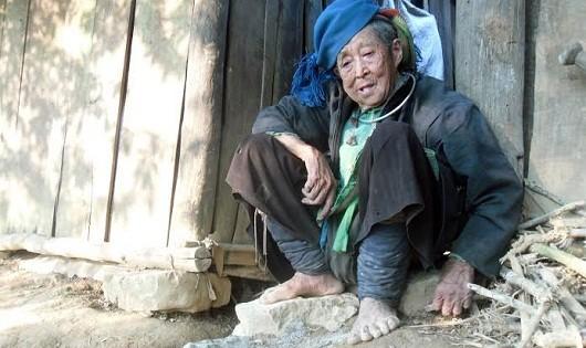 Cụ bà ngoài trăm tuổi cô độc trong túp lều sau bờ rào đá