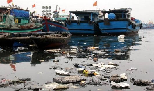 Tàu cá xả thải xuống cảng cá gây ô nhiễm môi trường nghiêm trọng.