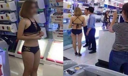 Cho nhân viên mặc bikini bán hàng phản cảm của một doanh nghiệp