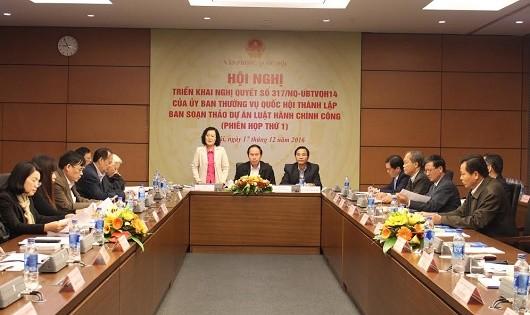 Đại biểu Quốc hội Trần Thị Quốc Khánh phát biểu tại phiên họp của Ban soạn thảo Dự án Luật Hành chính công.