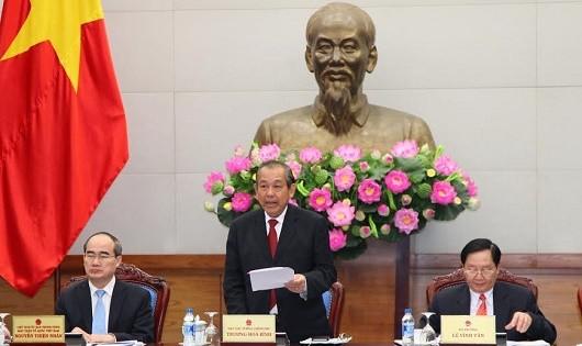 Phó Thủ tướng Trương Hòa Bình phát biểu tại Hội nghị đánh giá việc triển khai đo lường, xác định chỉ số hài lòng của người dân.