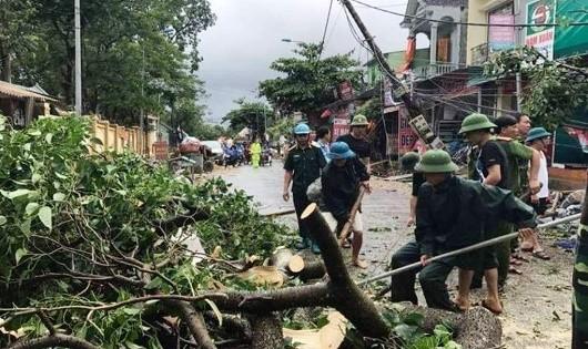 Giúp người dân dọn cây đổ sau bão.