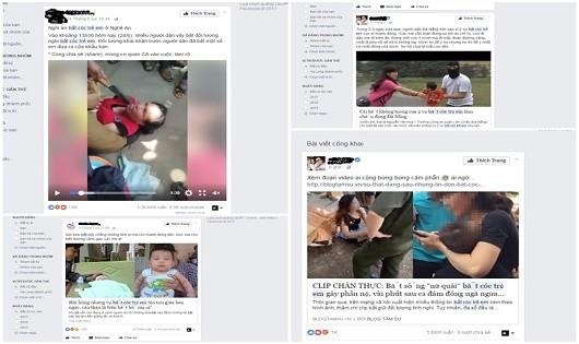 Thông tin bắt cóc trẻ trên mạng xã hội.
