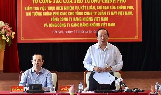 Bộ trưởng, Chủ nhiệm VPCP Mai Tiến Dũng, Tổ trưởng Tổ công tác phát biểu tại buổi làm việc