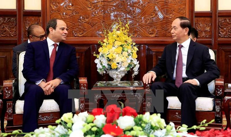 Chủ tịch nước Trần Đại Quang hội đàm hẹp với Tổng thống Abdel Fattah Al Sisi sau lễ đón. (Ảnh: Nhan Sáng/TTXVN)