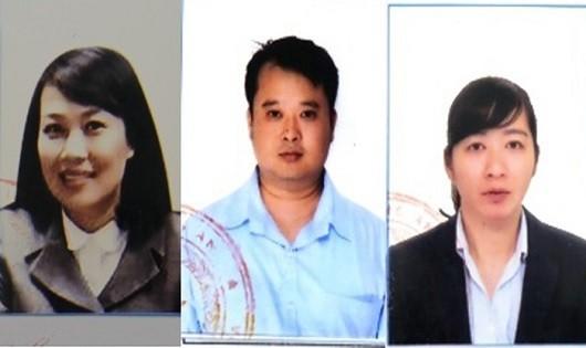 Từ trái qua: Bị can Kim Chi - Vương Hoàng - Minh Huệ (Ảnh Cổng TTĐT Bộ Công an)