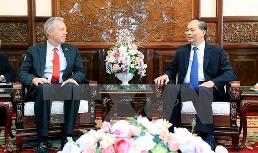 Chủ tịch Nước Trần Đại Quang tiếp Đại sứ Mỹ Ted Osius. Ảnh: TTXVN