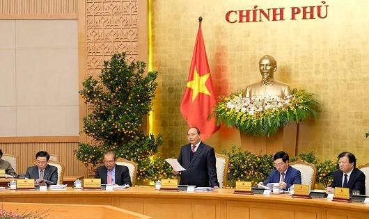 Thủ tướng Chính phủ phát biểu tại phiên họp. (Ảnh: VGP)