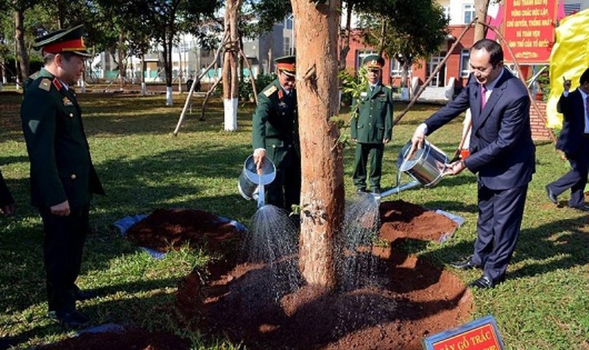 Chủ tịch nước trồng cây lưu niệm tại Quân đoàn 3.