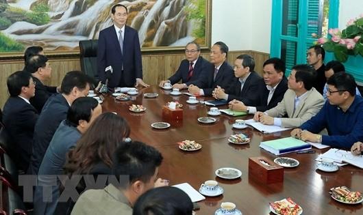 Chủ tịch nước Trần Đại Quang chủ trì buổi làm việc.