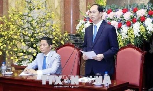 Chủ tịch nước Trần Đại Quang phát biểu tại buổi gặp mặt. Ảnh: Nhan Sáng/TTXVN